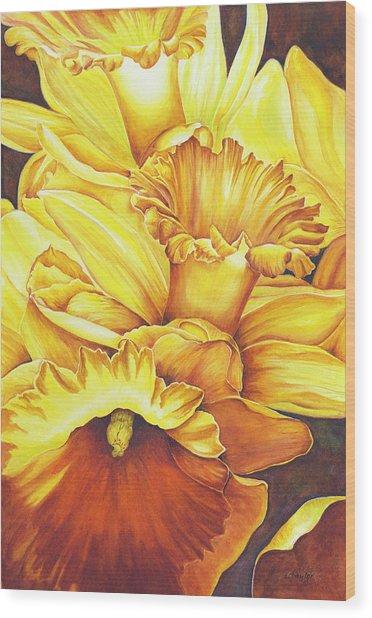 Daffodil Drama Wood Print