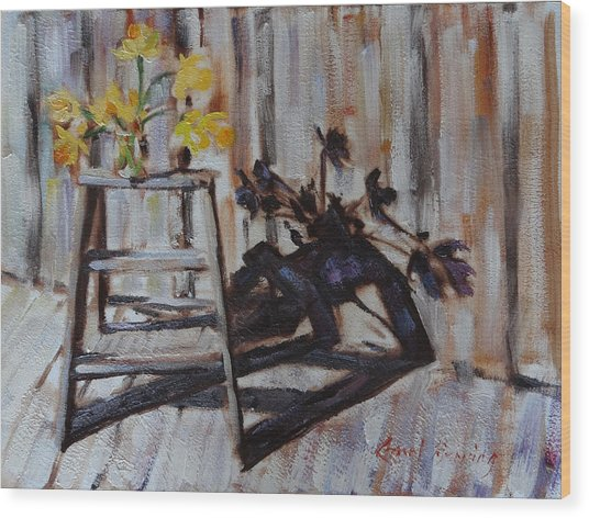 Daffodil Shadows Wood Print