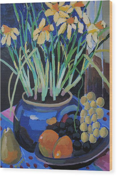 Daffodills And Fruit Wood Print