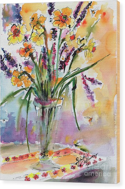Daffodils And Lavender Spring Still Life Wood Print