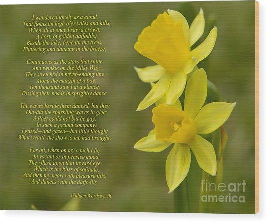 Daffodils Poem By William Wordsworth Wood Print