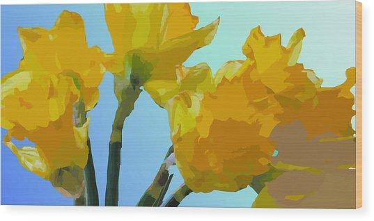 Daffodils Wood Print by Robert Bissett