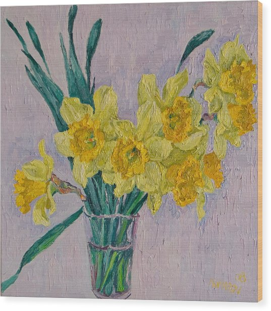 Daffodils Wood Print by Vitali Komarov