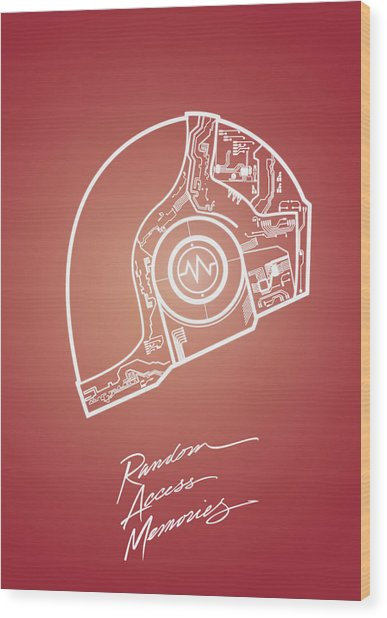 Daft Punk Guy Manuel Poster Random Access Memories Digital Illustration Print Wood Print