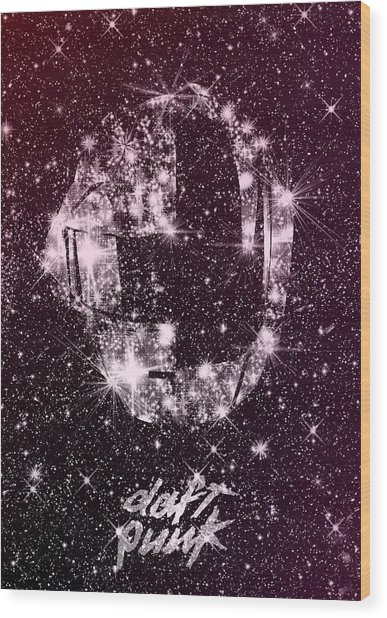 Daft Punk Poster Helmets Print Space Stars Random Access Memories Disco Retro Digital Print Wood Print