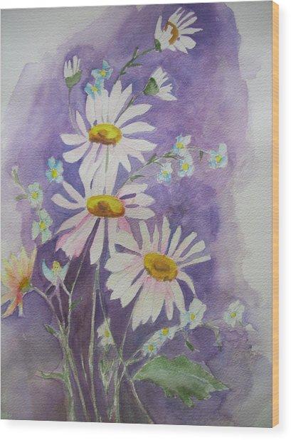 Daisey Bouquet Wood Print