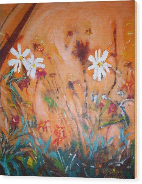 Daisies Along The Fence Wood Print