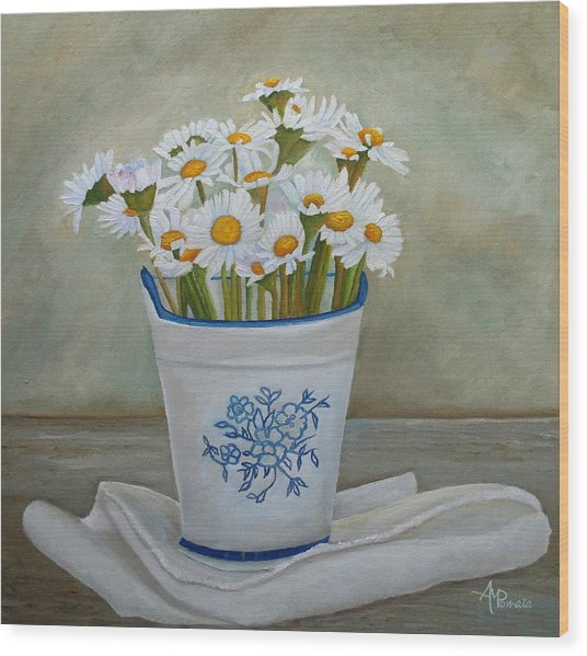Daisies And Porcelain Wood Print