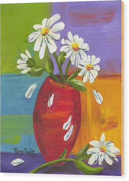 Daisies In A Red Vase Wood Print