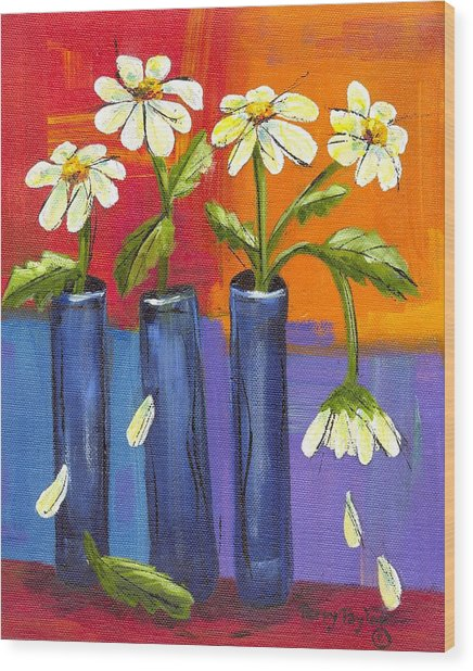 Daisies In Blue Vases Wood Print