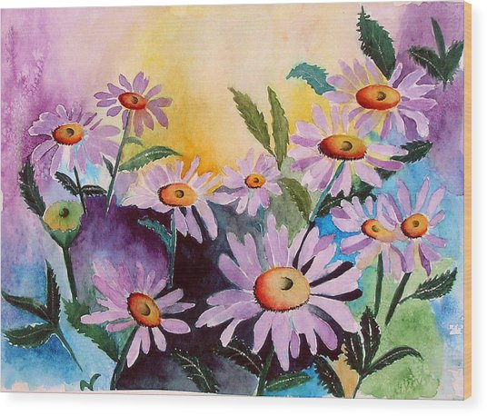 Daisies Wood Print by Mary Gaines