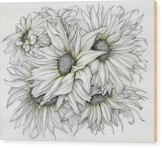 Sunflowers Pencil Wood Print