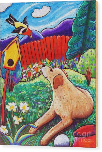 Daisy And The Tanager Wood Print by Harriet Peck Taylor