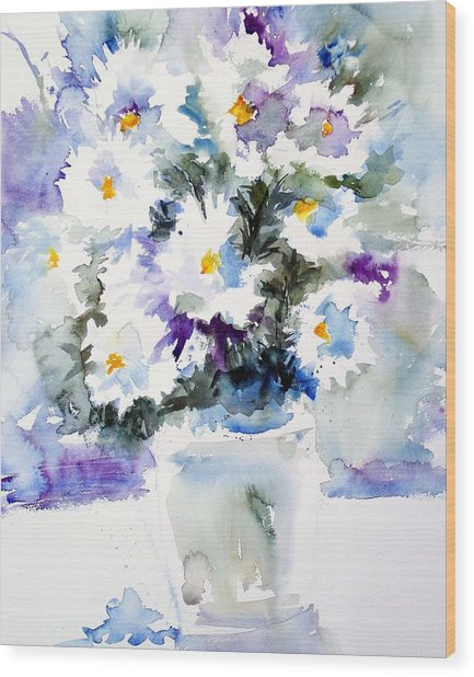 Daisy Bouquet Wood Print by Carol Sprovtsoff