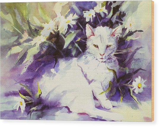 Daisy Cat Wood Print