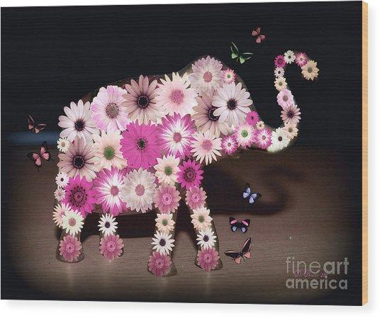 Daisy Elephant Wood Print