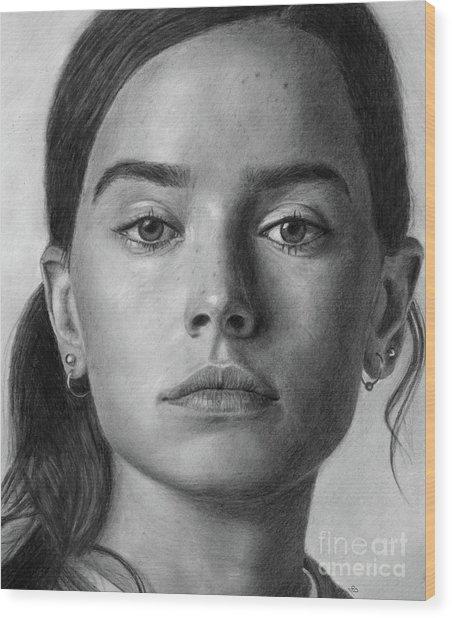 Daisy Ridley Pencil Drawing Portrait Wood Print
