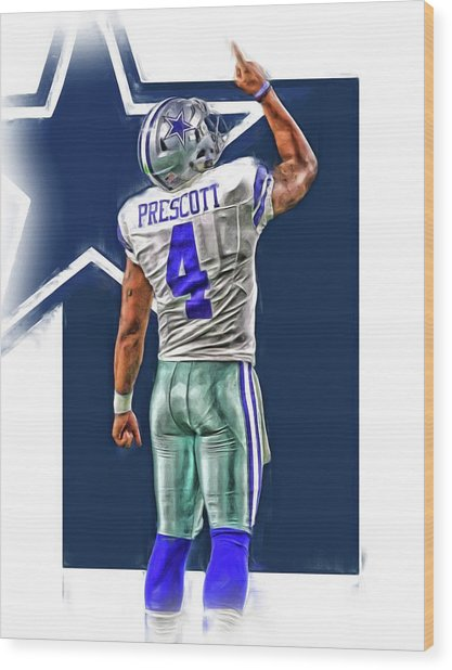 Dak Prescott Dallas Cowboys Oil Art Series 2 Wood Print