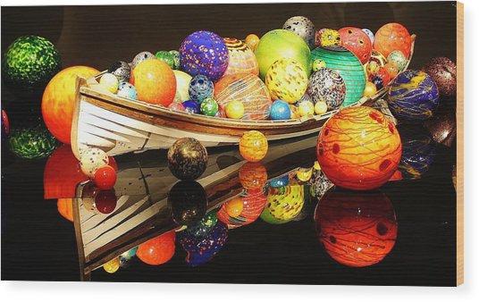 Glass Sculpture Boat Wood Print