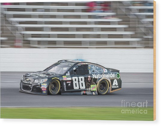 Dale Earnhardt Jr Running Hard At Texas Motor Speedway Wood Print