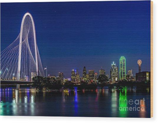 Dallas At Night Wood Print