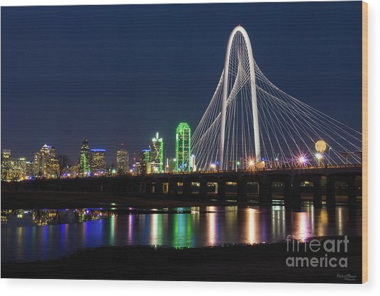 Dallas Bridge View Wood Print