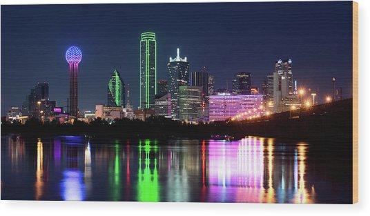 Dallas Colorful Night 52716 Wood Print