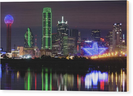 Dallas Cowboys Star Night Wood Print