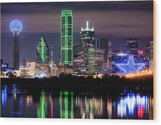 Dallas Cowboys Star Skyline Wood Print