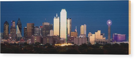 Dallas Golden Pano Wood Print