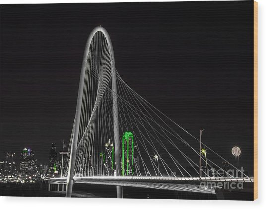 Dallas Nightscape With Green Wood Print