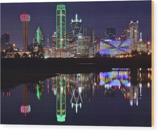 Dallas Reflecting At Night Wood Print