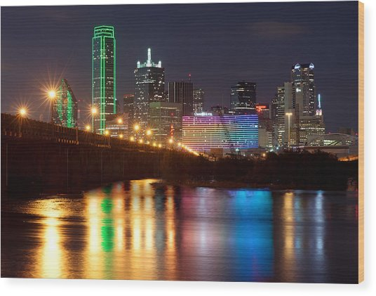 Dallas Reflections Wood Print