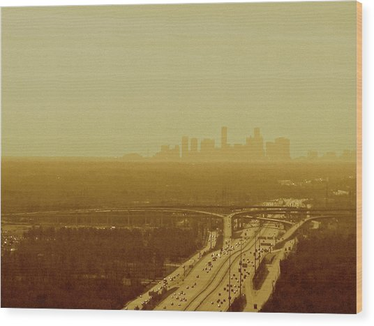 Dallas Sky Wood Print by Katie Ransbottom