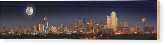 Dallas Skyline At Dusk Big Moon Night  Wood Print