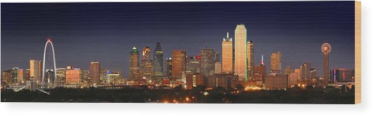 Dallas Skyline At Dusk  Wood Print