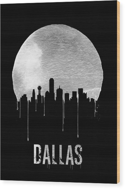 Dallas Skyline Black Wood Print