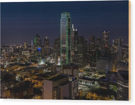 Dallas Skyline Evening Glow Wood Print
