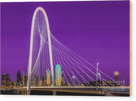 Dallas Skyline Purple Wood Print