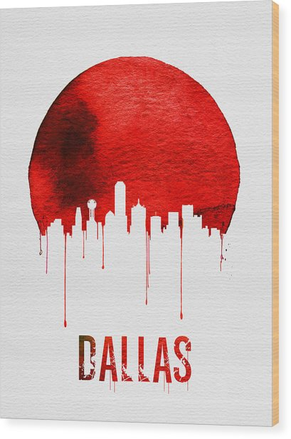 Dallas Skyline Red Wood Print