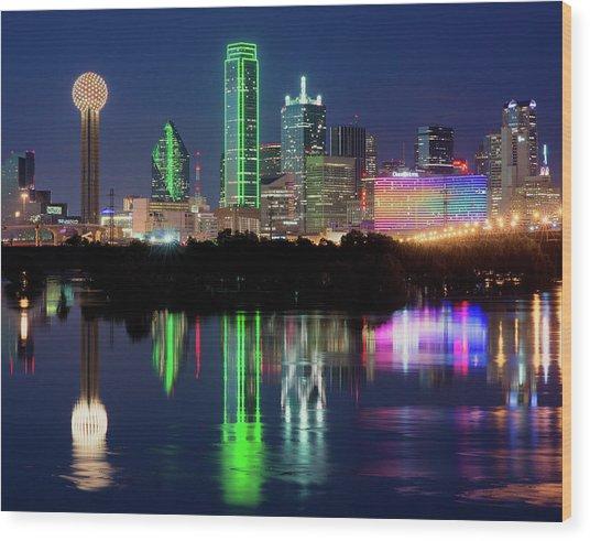 Dallas Skyline Reflection 91317 Wood Print