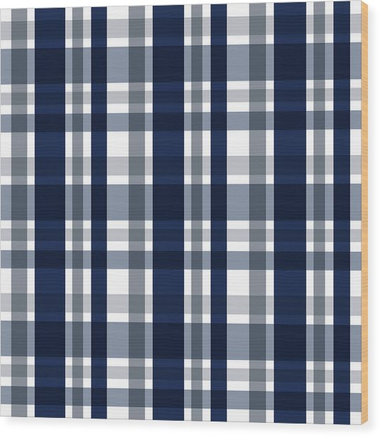 Dallas Sports Fan Navy Blue Silver Plaid Striped Wood Print