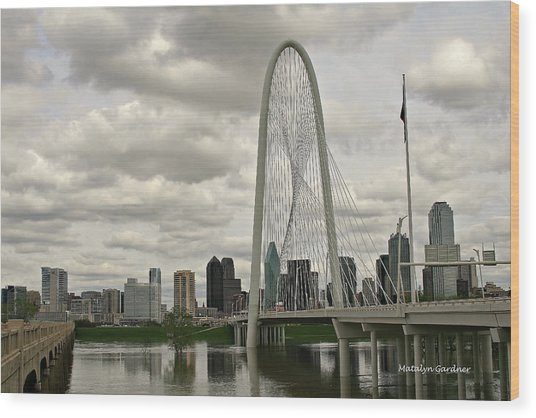 Dallas Suspension Bridge Wood Print