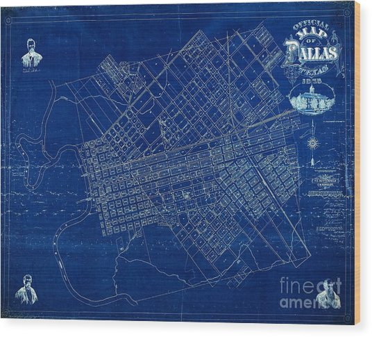 Dallas Texas Official 1875 City Map Blueprint Butterfield And Rundlett Wood Print