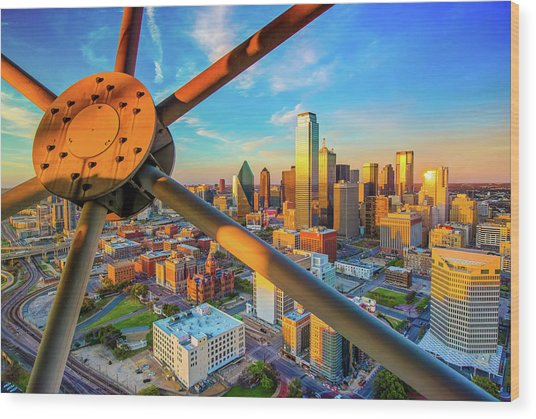 Dallas Texas Skyline At Sunset  Wood Print