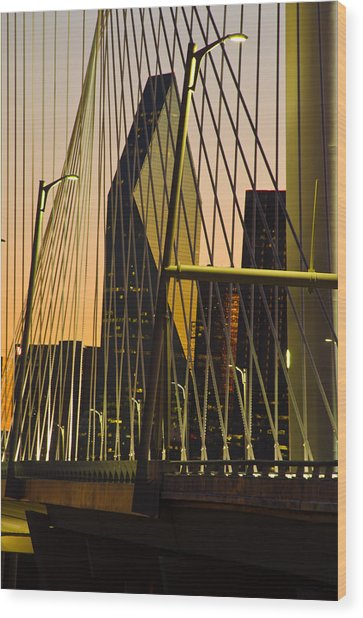 Dallas Through Bridge Wood Print