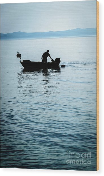 Dalmatian Coast Fisherman Silhouette, Croatia Wood Print