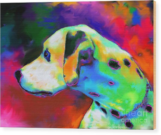 Dalmatian Dog Portrait Wood Print