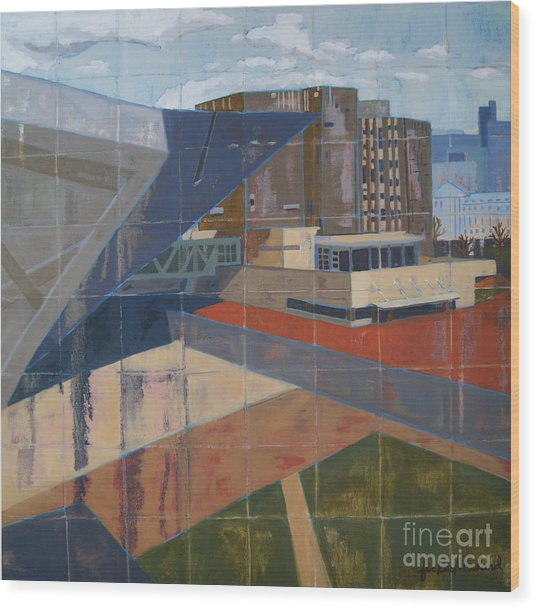 Wood Print featuring the painting Dam Museum by Erin Fickert-Rowland