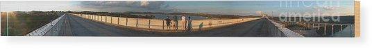 Dam N Lake Travis Panorama Wood Print by Daniel Henning